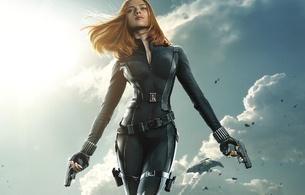 scarlett johansson, sexy, redhead, catsuit, natasha romanoff, black widow, captain america, the winter soldier, gun