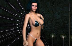 3d, art, fake, virtual babe, sexy babe, brunette, short hair, busty, 3d model, shiny, bikini, fantasy, hottie, blue eyes
