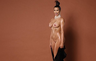 kim kardashian, american, starlet, model, celebrity, exotic, brunette, busty, sexy babe, long hair, posing, undressing, black, robe, oily, body, smile, shaved, cunt, sexy, personality, kim, paper mag, real celebs wall