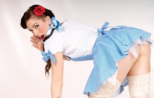 young, brunette, model, bend forward, sexy dressed, cosplay, stockings, pin up style, make up art, nice rack, sexy ass, ass wallpaper, erotic, red lips, dorothy, sexy