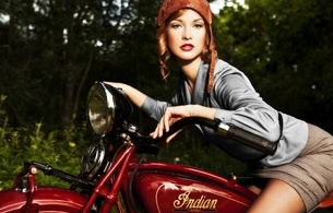 brunette, model, sexy babe, close up, eyes, face, erotic, pin up, motorbike, retro, posing, sitting, sexy dressed, smile, red lips, pin up style
