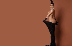 kim kardashian, american, starlet, model, celebrity, exotic, brunette, busty, sexy babe, long hair, posing, undressing, black, robe, oily, body, smile, flashing, nice rack, sexy ass, big booty babe, minimalist wall, own cut, kim, paper mag, real