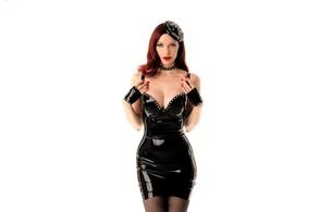emily marilyn, american, alternative, fetish model, redhead, diva, sexy babe, long hair, posing, black, latex, minidress, gloves, hat, erotic, red lips, sexy, decollete, pin up style, minimalist wall, own cut, emily, shiny, rubber, fetish, fetish babe