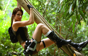 tomb raider, lara croft, erotic, jungle, adventure, brunette, hot, nice, cool, awesome, sexy, cool, wallpaper, pc game, real, hi-q, lara, cosplayer, sexy babe, long hair, widescreen cut