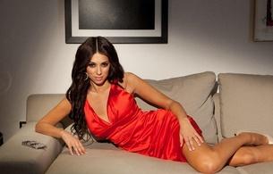 georgia salpa, brunette, greek, irish, model, exotic, sexy babe, long hair, celebrity, posing, laying, sexy dressed, red, robe, legs, high heels, sexy, decollete, hi-q, georgia, real celebs wall, perfect lady