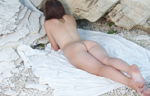 bogdana b, brunette, nude, model, outdoors, beach, ass