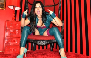 dominatrix atena, original, mistress, brunette, young, sexy babe, long hair, posing, green, leather, lingerie, body, bolero jacket, stockings, spread, legs, high heels, fetish, atena, hi-q, the finger, fetish babe, do the effenberg