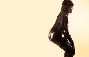kelly, young, exotic, model, petite parisiennes, slim, ebony, sexy babe, long hair, posing, black, liquid latex, gloves, stockings, nice rack, sexy ass, minimalist wall, hi-q, erotic, own cut, sexy, ass wallpaper, fetish babe