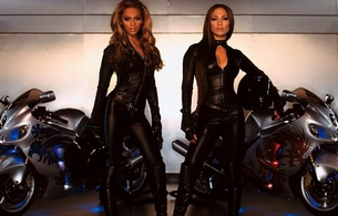 beyonce knowles, brunette, ebony, singer, jennifer lopez, latina, actor, glamour, sexy babe, long hair, celebrity, 2 babes, tight clothes, black, leather, bike, combi, helmet, bike, beyonce, jennifer, hi-q, real celebs wall, babes in boots