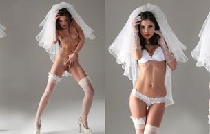 little caprice, bride, dual, lingerie, caprice, spreading pussy