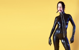 wendy, brunette, adult model, slim, sexy babe, long hair, petite parisiennes, posing, black, shiny, liquid latex, body, covered, necktie, chain, submissive, girl, hi-q, minimalist wall, re-up, own cut, collar, fetish babe, perfect, slave