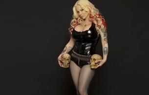 sabrina sabrok, argentinian, celebrity, cyberpunk, singer, model, blonde, busty, milf, tattoo, sexy babe, long hair, posing, black, shiny, pvc, body, hot, decollete, fishnet, pantyhose, erotic, legs, high heels, lingerie series, skull, hi-q