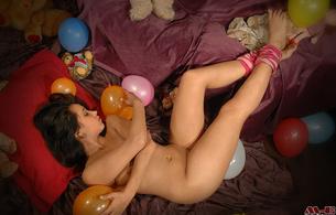 daniela, brunette, happy, birthday, nude, cutie, balloons