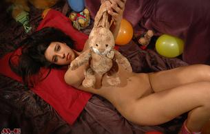 daniela, brunette, happy, birthday, nude, cutie, 18, balloons