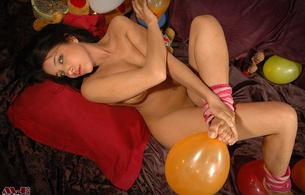 daniela, brunette, happy, birthday, nude, cutie, nice, balloons