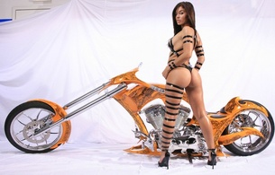brunette, straps, ass, sexy, model, bike, orange, heels, boob