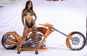 custom, heels, boobs, straps, black, sexy, white sheet, brunette, orange