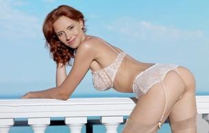 Wallpaper leka c, lera o, redhead, adult model, teasing