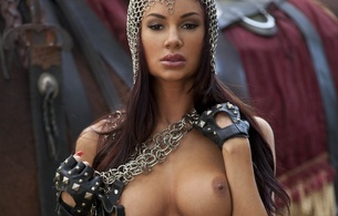 aymee, fantasy, brunette, madian, horse, chain mail, armor, gloves, tits, boobs, nipples, medieval woman, medieval, hi-q, close up