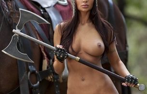 aymee, fantasy, brunette, madian, chain mail, armor, gloves, axe, tits, boobs, nipples, horse, medieval woman, medieval