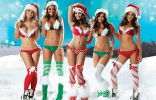 rosie jones, holly peers, sophie reade, india reynolds, and emma frain, santa girls, model, sexy, elf babes, snow, white