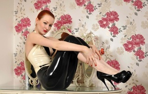 anita de bauch, redhead, alternative, model, slim, sexy babe, long hair, posing, sitting, tight clothes, latex, top, leggings, legs, high heels, shiny, rubber, fetish, erotic, red lips, pin up style, anita, successfull re-up, fetish babe, latexheaven