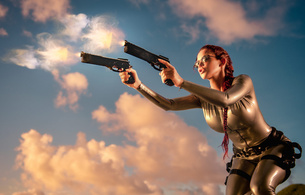 bianca beauchamp, canadian, model, redhead, sexy babe, fetishqueen, cosplay, lara croft, tomb raider, close up, tight clothes, rubber, fetish, catsuit, firing, pistols, girls and guns, tomb raider set, fantasy, bianca, guns, successfull re-up, fetish babe