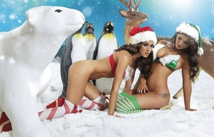 holly peers, emma frain, snow, santa hats, sexy, red, white, green, polar bear, reindeer, babes, penguins