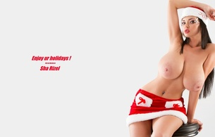 sha rizel, ukrainian, boobs model, personality, brunette, busty, sexy babe, long hair, adult model, holidays, x-mas, santa cap, red, minidress, sexy, topless, smile, minimalist wall, hi-q, own cut, widescreen cut, amazing, big boobs, christmas, giant tits