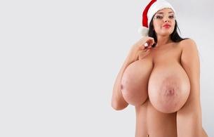 sha rizel, ukrainian, boobs model, personality, brunette, busty, sexy babe, long hair, adult model, close up, eyes, face, santa babe, smile, minimalist wall, hi-q, own cut, knockers, juggs, big tits, boobs, big gunns, gazongas, motorboat, giant tits