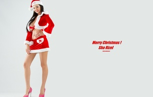 sha rizel, ukrainian, boobs model, personality, brunette, busty, sexy babe, long hair, adult model, posing, red, x-mas, lingerie, sexy, legs, high heels, santa cap, santa babe, smile, hi-q, minimalist wall, own cut, christmas