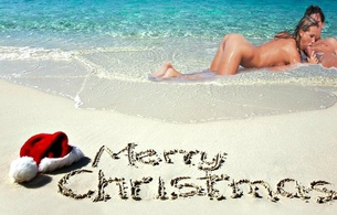 merry christmas, beach, sand, couple, sucking cock, water, christmas