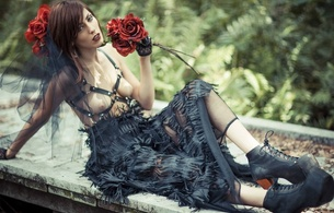 lexi jensen, redhead, alternative, model, slim, sexy babe, long hair, posing, sitting, fancy dressed, erotic art, flowers, roses, fantasy, leather, harness, plateau shoes, erotic, red lips, hi-q, skinny, delicious, sexy, small tits, tiny tits, pe