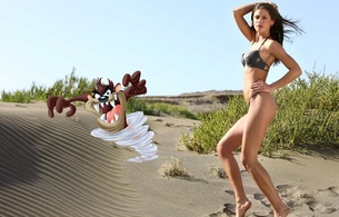 caprice, taz, bikini, beach, cartoon, sand, model, brunette, little caprice, hi-q