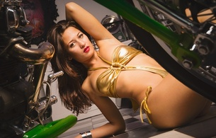 stellucia, brunette, young, amateur, model, slim, sexy babe, long hair, posing, laying, shiny, golden, monokini, close up, sexy, red lips, erotic art, hi-q, bike, motorbike