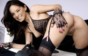 kristin kreuk, canadian, brunette, actress, celebrity, sexy babe, long hair, smallville, nude, fake, posing, kneeling, doggy, smile, black, lingerie, gloves, stockings, legs, high heels, close up, vertical smile