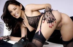 kristin kreuk, canadian, brunette, actress, celebrity, sexy babe, long hair, smallville, nude, fake, posing, kneeling, doggy, smile, black, lingerie, gloves, stockings, legs, high heels, close up, vertical smile