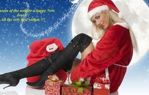 holiday, sexy girl, santa baby, christmas, new year, boots, moon
