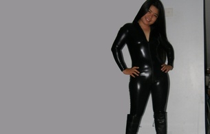 brunette, exotic, amateur, milf, curvy, sexy babe, asian, long hair, posing, smile, black, shiny, lycra, catsuit, tight clothes, fetish, leather, knee boots, minimalist wall, own cut, hi-q, erotic, ms.foxcy, fetish babe