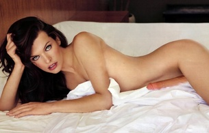 milla jovovich, serbian, russian, model, celebrity, actress, slim, sexy babe, brunette, nude, fake, close up, eyes, face, white, bed, lovetoy, dildo, erotic, green eyes, milla, celebrity fake