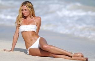 candice swanepoel, blonde, southafrican, supermodel, slim, sexy babe, long hair, posing, sitting, white, bikini, hot sexy legs, beach, sea, sand, wet, legs, feet, erotic, candice, real celebs wall