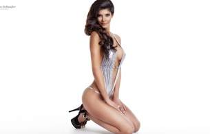 micaela schaefer, german, professional nudist, model, brunette, sexy babe, adult model, long hair, posing, kneeling, shiny, silver, monokini, sexy, decollete, legs, high heels, ultra, hi-q, minimalist wall, own cut, plateau heels, hot sexy legs, best quality, perfect lady