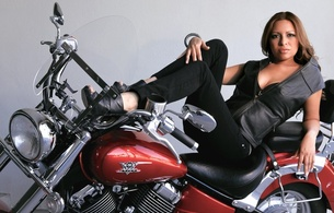 brunette, brazilian, amateur, model, exotic, sexy babe, long hair, posing, laying, bike, sexy, dressed, leather vest, sexy, decollete, jeans, legs, high heels, hi-q, mayra garcia