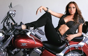 brunette, brazilian, amateur, model, exotic, sexy babe, long hair, posing, laying, bike, sexy, dressed, open, leather vest, sexy, decollete, jeans, legs, high heels, hi-q, mayra garcia