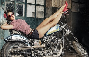 brunette, amateur, model, slim, busty, sexy babe, long hair, posing, laying, bike, harley davidson motorcycles, pin up style, milf, sexy, dressed, long legs, high heels, hi-q, 883 photo