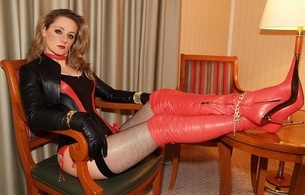 lady ann, blonde, german, mistress, milf, long hair, sexy babe, amateur, model, posing, sitting, leather, lingerie, corset, gloves, bolero jacket, fishnet, stockings, red, overknee, high boots, erotic, red lips, ann, lingerie series, babes in boots, widescreen cut