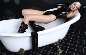 cute mary, young, blonde, alternative, model, slim, sexy babe, long hair, laying, bathroom, bathtub, black, latex, lingerie, body, gloves, pvc, plateau boots, hi-q, erotic, lingerie series, fetish babe
