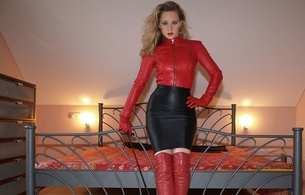 lady ann, blonde, german, mistress, milf, long hair, sexy babe, amateur, model, posing, bedroom, sexy, dressed, tight clothes, leather jacket, miniskirt, red, leather, overknee, high boots, hi-q, ann, fetish babe