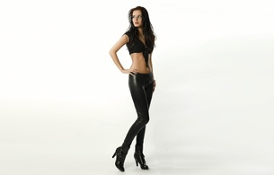 young, brunette, fashion, model, slim, sexy babe, long hair, posing, smile, sexy dressed, tight clothes, belly top, shiny, lycra, leggings, ankle boots, erotic, minimalist wall, own cut, background, skinny, delicious, sexy, small tits, fetish babe