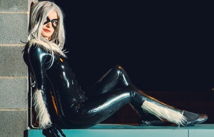 young, blonde, alternative, model, cosplayer, wig, posing, sitting, sexy, dressed, black, latex, catsuit, fullsuit, shiny, rubber, fetish, x men, cosplay, hi-q, fetish babe